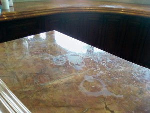 water stains marble