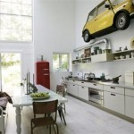 Car-at-the-wall-on-Modern-Kitchen-Design-with-Unusual-Decorations