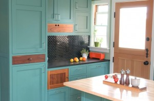 teal-green-painted-kitchen-cabinets